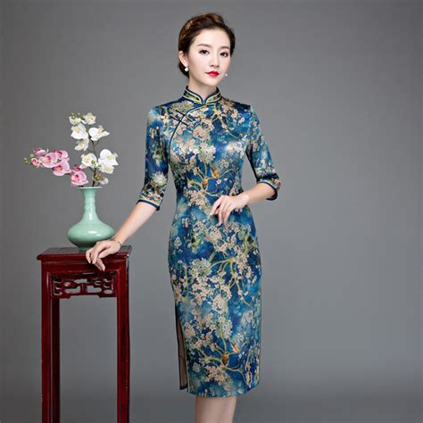 Blue Flower Retro Cheongsam Dress Vintage Import Fashion Wanita Korea beige floral vintage blue floral printed plus size