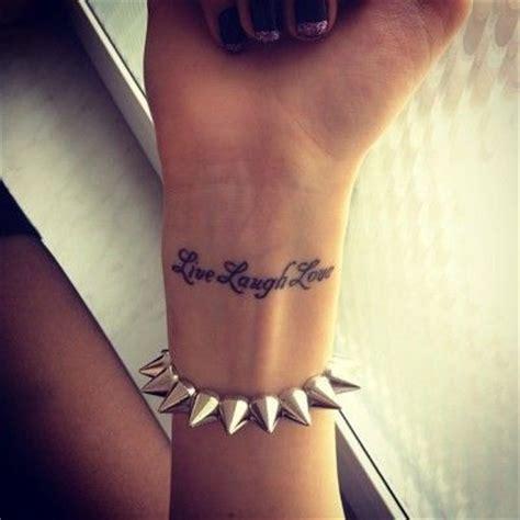 tattoo inspiration napisy bracelet hand laugh live tattoo girls wrist www