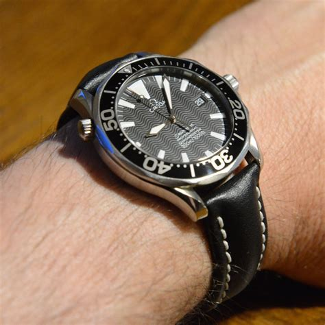 Anyone put a leather strap on the black seamaster diver 300m?   Omega Forums