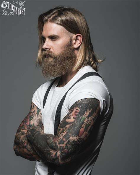 suspender tattoo josh mario thick beard mustache beards bearded