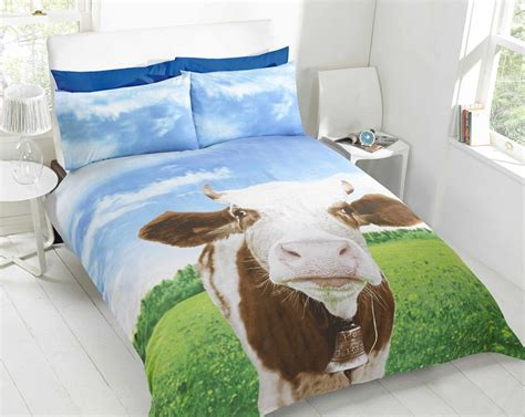 animal bedding daisy cow animal photo print novelty bedding duvet cover