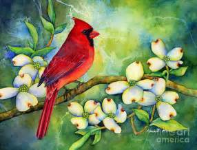 Branches Duvet Cover Cardinal On Dogwood Painting By Hailey E Herrera