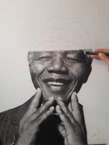 nelson mandela hyperrealistic pencil drawing stage by