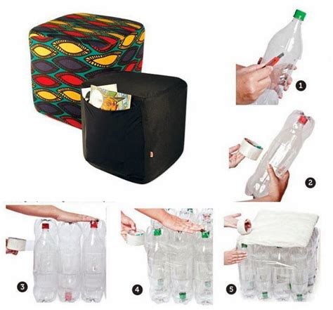 botellas de plastico construccion y manualidades hazlo tu mismo puff reciclado con botellas de plastico construccion y