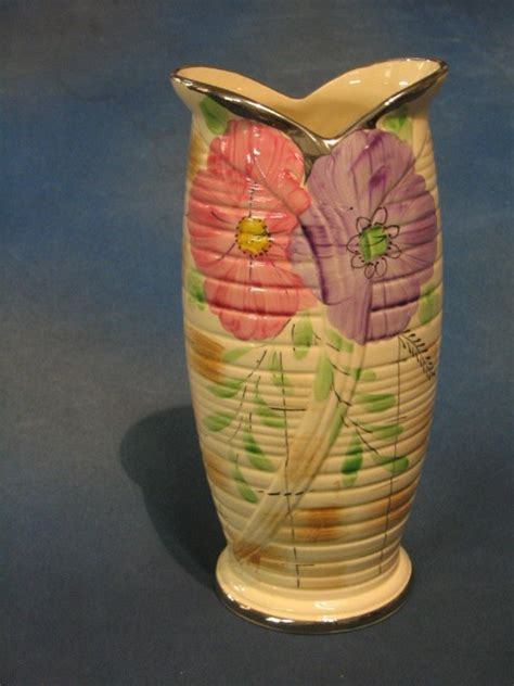 807 an deco arthur wood pottery vase with floral