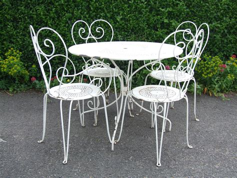 Wrought Iron Patio Table And 4 Chairs G181 S Lovely Vintage Wrought Iron Garden Patio Caf 233 Table And 4 Chairs Set La