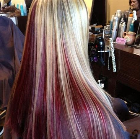 blonde with violet red underneath hair i ve done dark brown hair with red peekaboos underneath www imgkid