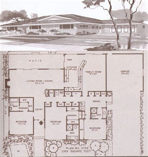 1960s ranch house plans c 1955 hiawatha estes plan 3748 houses pinterest
