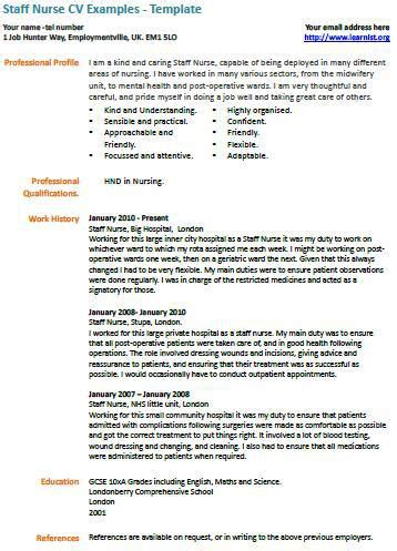 Sample Resume For Newly Registered Nurses by Staff Nurse Cv Example Learnist Org
