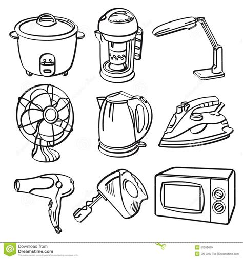 home sketch home electric appliances stock illustration image 51052619