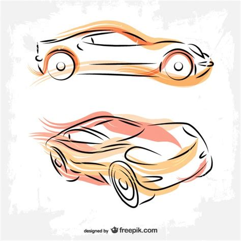 draw vector cars line drawing vector free