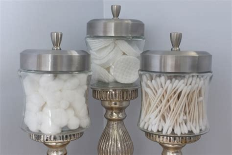 what to put in glass jars in bathroom candlestick apothecary jars and retro style fan school of decorating by jackie hernandez