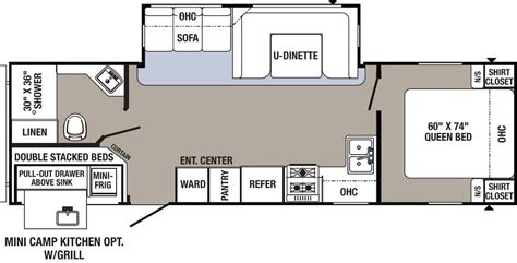 outdoor kitchen floor plans 2017 bunkhouse travel trailer 28fqdb ebay