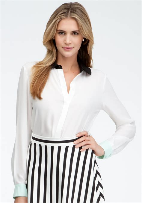 White Egret Collar Top Bebe Colorblock Collar Button Up Blouse In White Egret