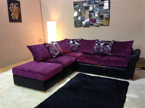 oscar purple and black corner sofa with floral pattern and