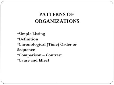 simple listing pattern of organization signal words pattern of organization