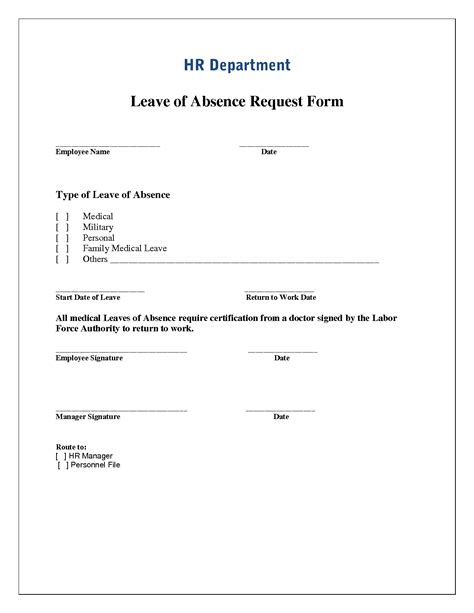 leave of absence form template best photos of absence request form template leave of