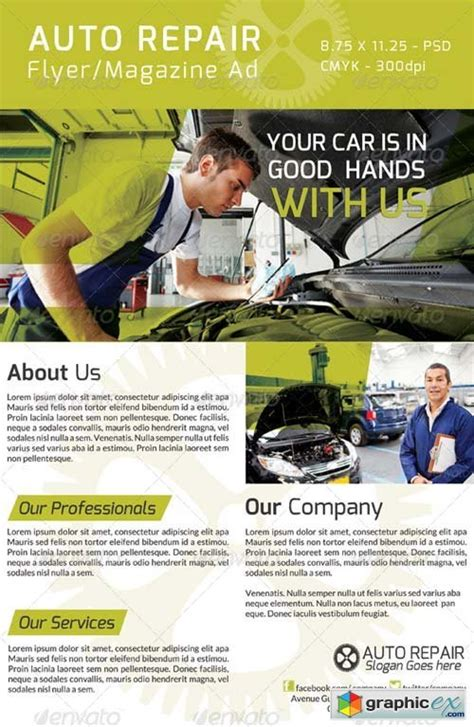 auto repair flyer magazine ad 187 free download vector