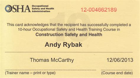 osha 10 card template credentials rybak home inspections