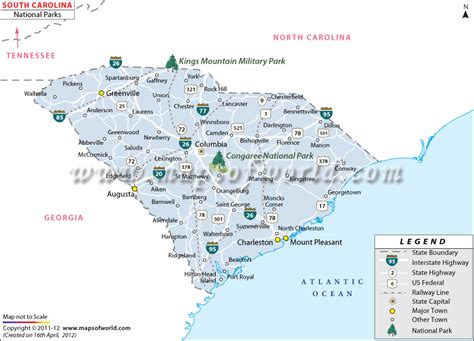 map of south carolina usa south carolina national parks map