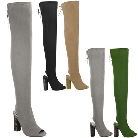 stretch thigh high boots womens thigh high boots knit stretch the knee
