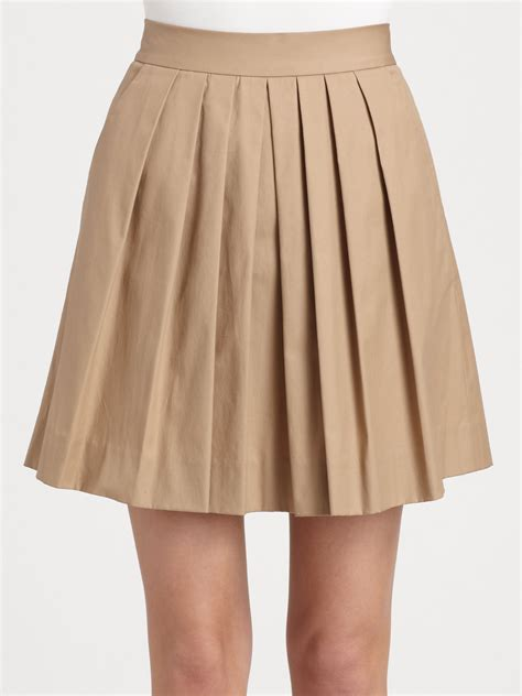 Dkny Pleated Skirt in Natural   Lyst