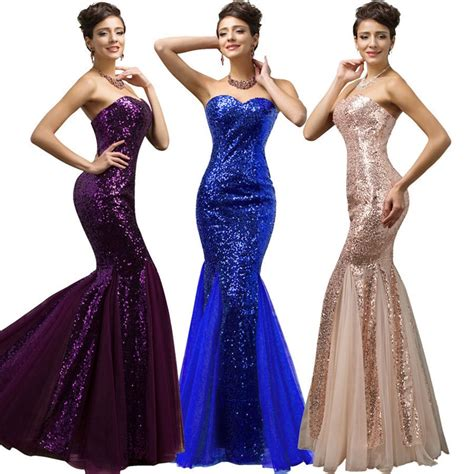 aliexpress buy hufanydrss purple blue gold mermaid prom dress 2017 sequined lace up
