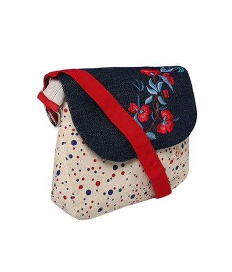 Embroidered Sling Top Bluered 40259 buy and blue polka dot canvas sling bag with blue top and embroidery