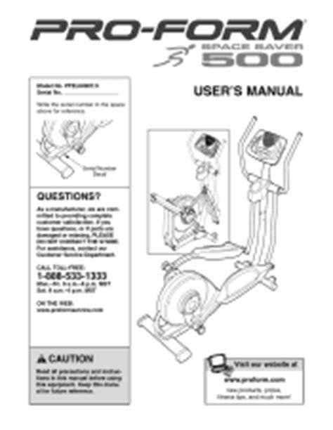 proform space saver  elliptical manual