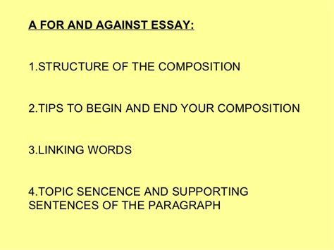 essay structure for and against a for and against essay
