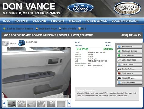 don vance ford marshfield mo 2012 ford escape real dealer prices free costhelper