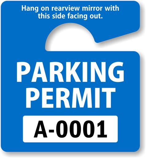 Parking Hang Tags Design Online At Myparkingpermit Temporary Parking Pass Template
