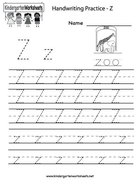 kindergarten letter z writing practice worksheet printable