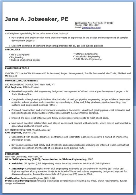 Resume Template For Experienced by Civil Engineer Resume Template Experienced Creative