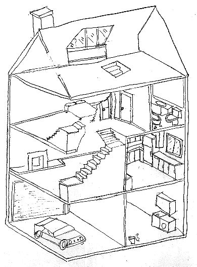 cross section view cross sectional view of a house