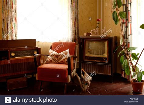 living room radio 1950s living room set with television radio and armchair lauf an stock photo royalty free