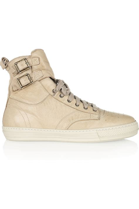 beige sneakers for burberry beige leather high top sneakers sneaker cabinet