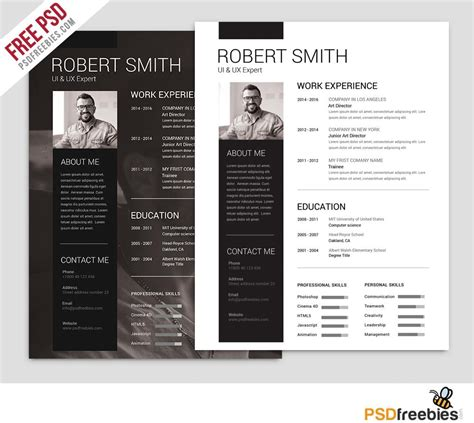 Free Resume Templates In Photoshop Psd Format Creativebooster Resume Psd Template For Photoshop
