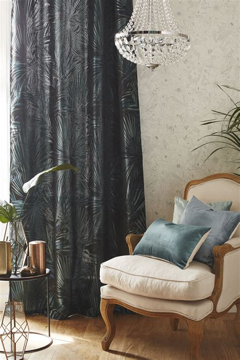 Rideau Jungle by Rideau Tamisant Jungle Bleu Vert L 140 X H 250 Cm