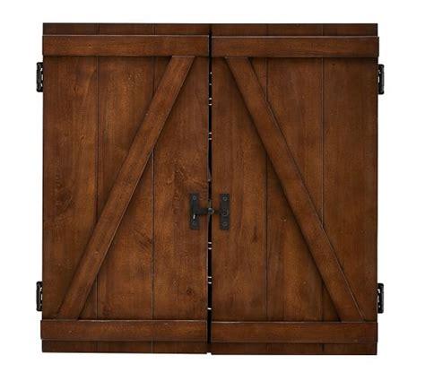 reclaimed wood dartboard cabinet dartboard wood cabinet game set pottery barn