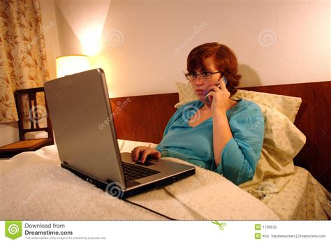 working in bed sick in bed working from home stock photo image 1730532