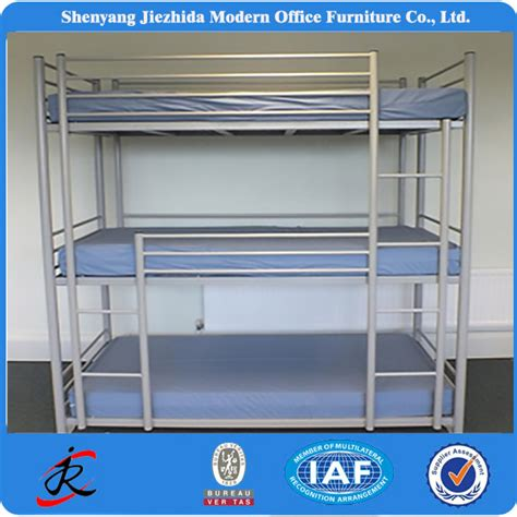 3 Level Bunk Bed Bedroom Furniture Hotel School Dormitory Three Level Iron Bed Fold Metal Bunk Bed For