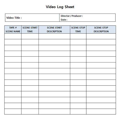 Logging Sheets For Editing Jeain Huh