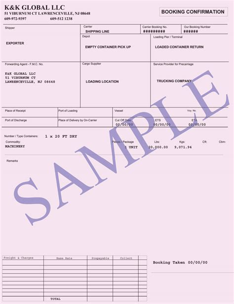 freight forwarder quote template booking confirmation