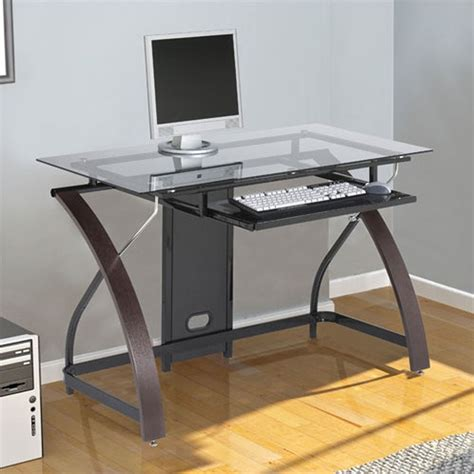 sturdy glass computer desk outstanding presence compact computer desk for space