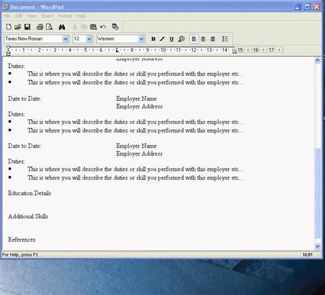 cv template free wordpad create a cv in wordpad