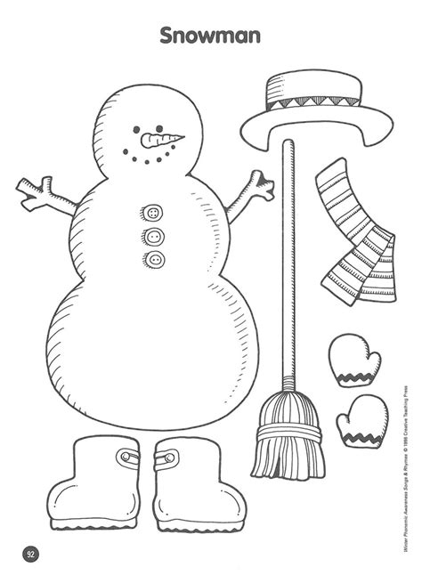 printable preschool snowman template free activity dress the snowman teaching freebies