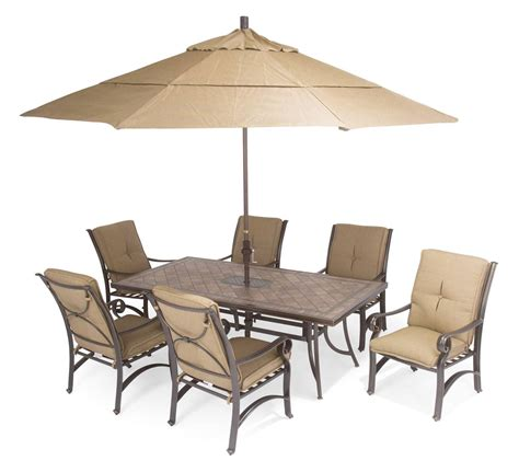 Patio Table Furniture Furniture Carlsbad Cushion Aluminum Patio Furniture With Brown Umbrella Design And White