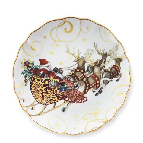 twas the night before christmas dinner plates santa set