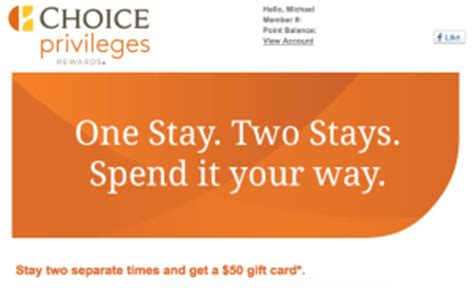 Choice Hotel Gift Card - choice hotels two stays 50 gift card